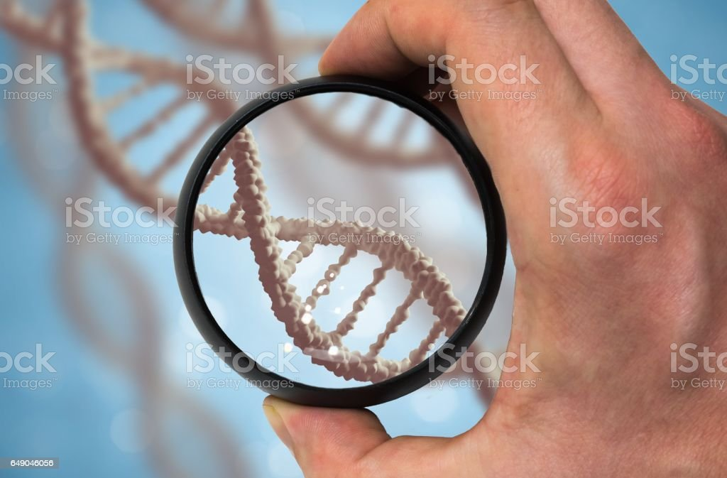 Scientist examinates DNA molecule. Genetics research concept. stock photo