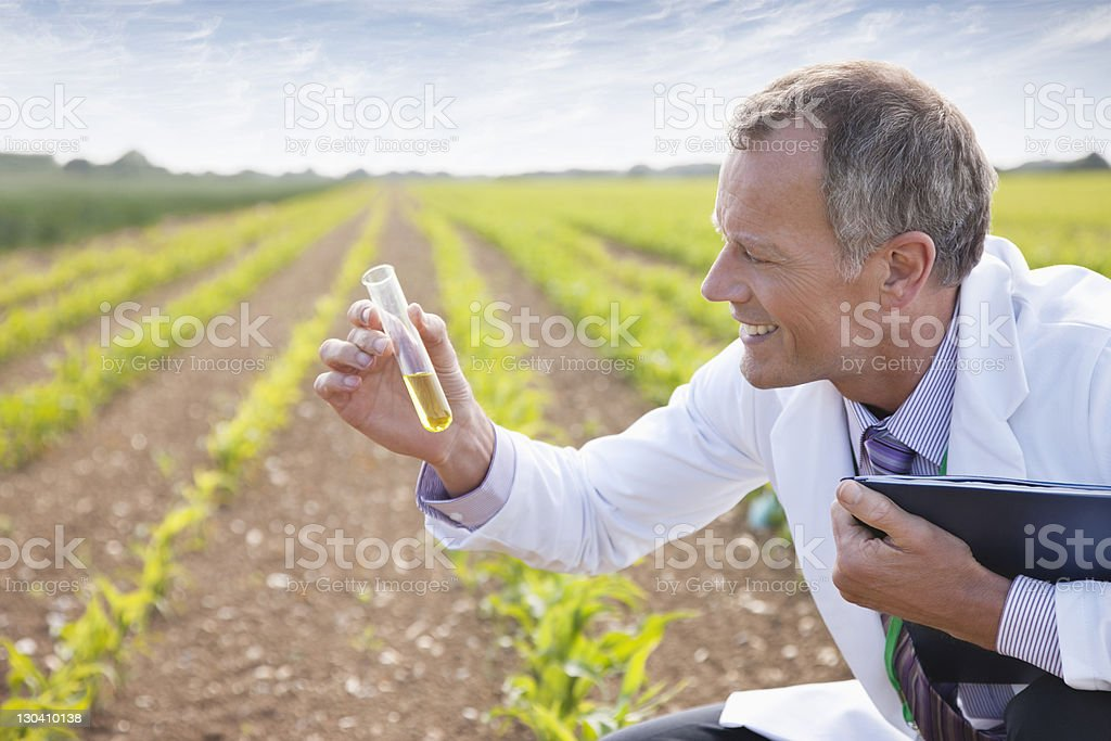 Scientist examining liquid in test tube outdoors stock photo