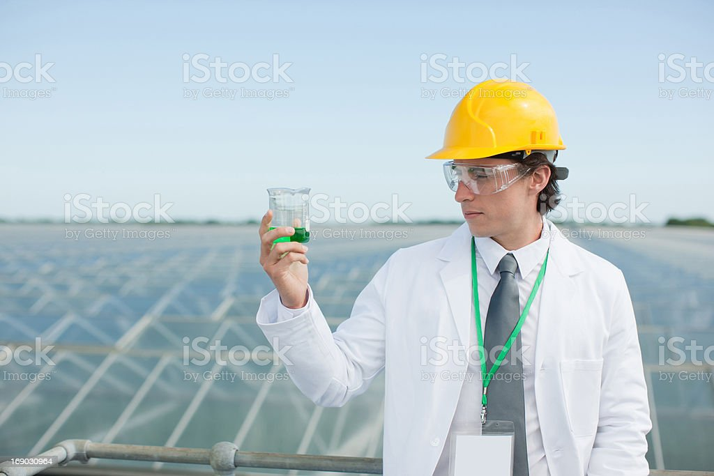 Scientist examining liquid in test tube royalty-free stock photo