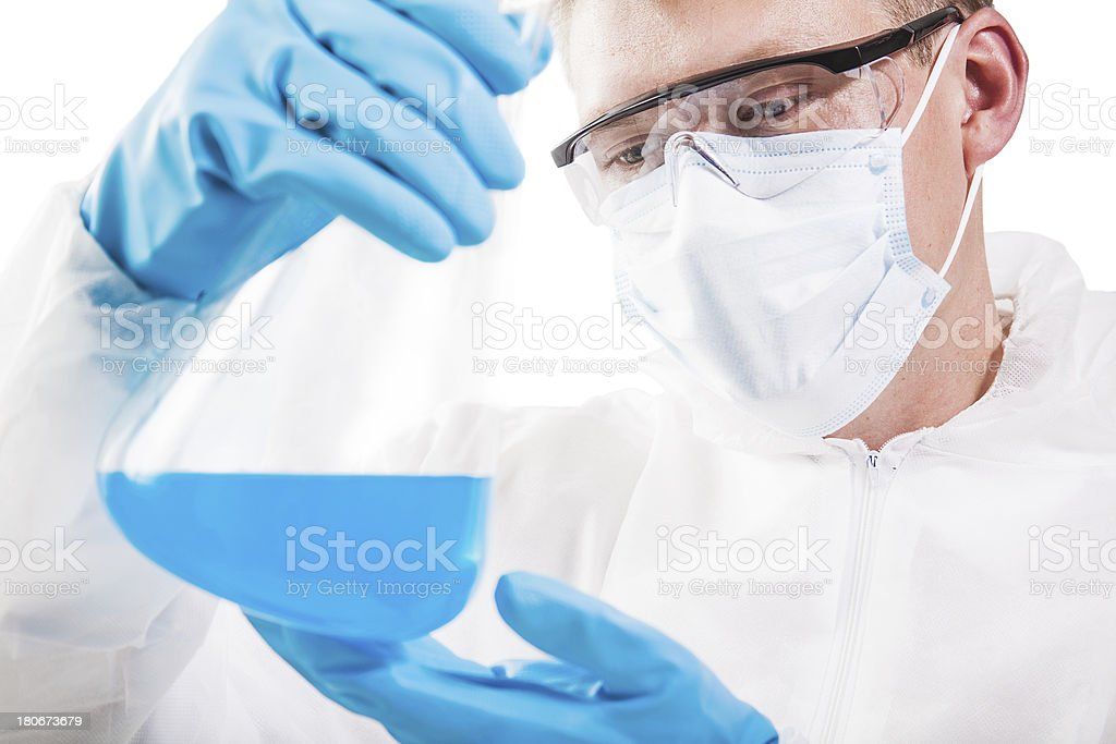 Scientist examining results stock photo