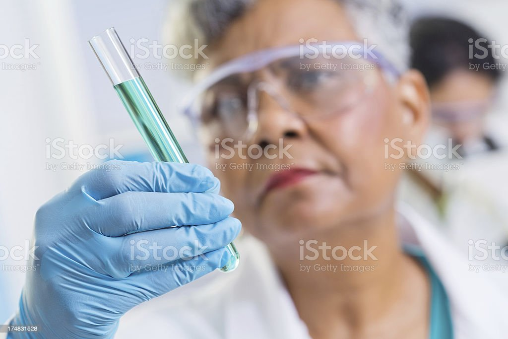 Scientist examining test tube with chemicals in laboratory; selective focus royalty-free stock photo