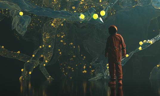 Scientist finding alien living organism