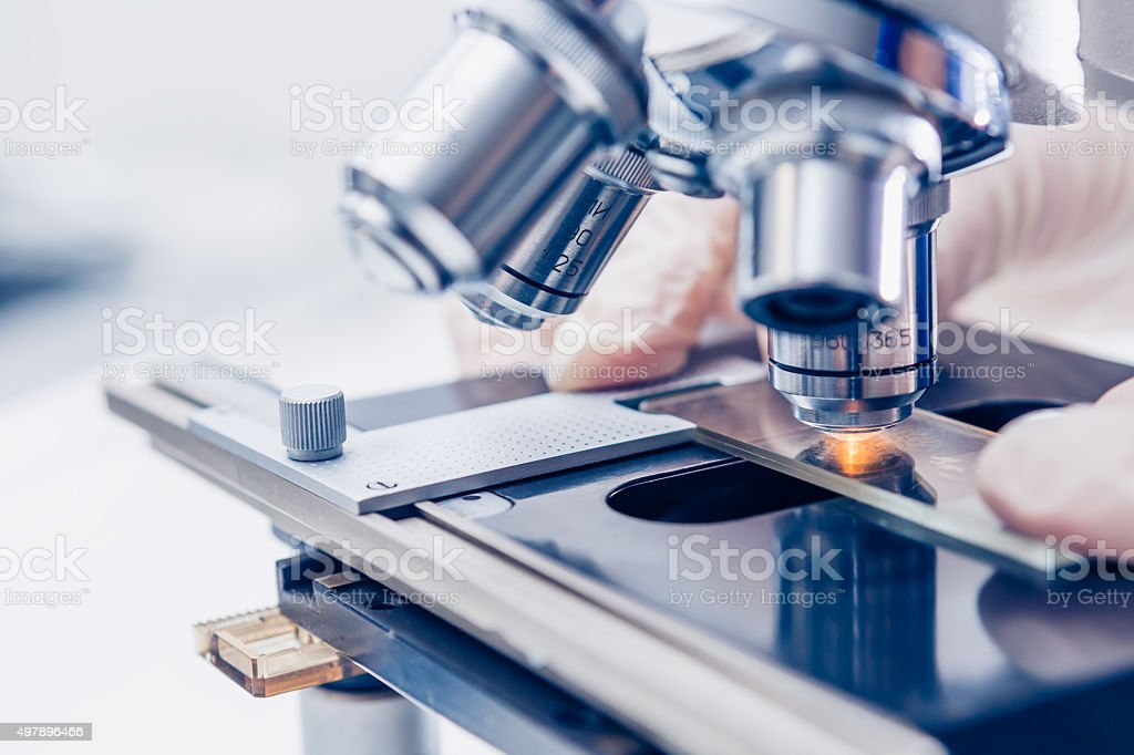 Scientist hands with microscope stock photo