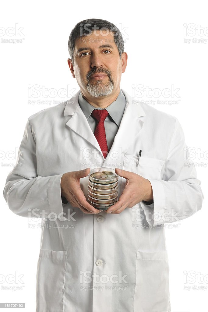 Scientist Holding Petri Dishes With Bacteria royalty-free stock photo