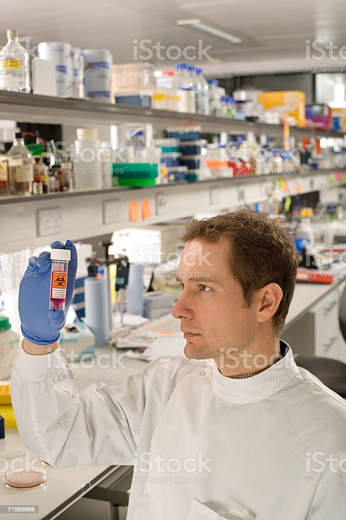 Scientist holding test tube royalty-free stock photo