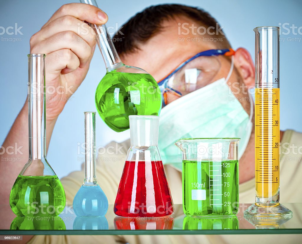 scientist in laboratory with test tubes royalty-free stock photo