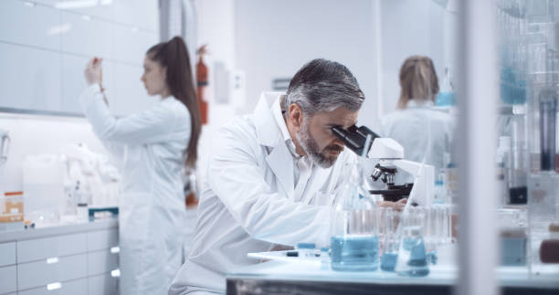 Scientist is looking through a microscope stock photo