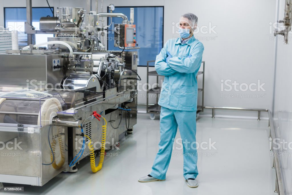 scientist look at machines royalty-free stock photo