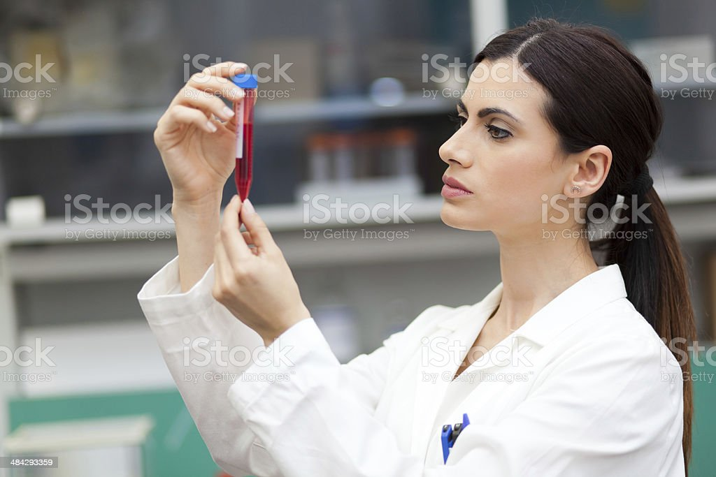 Scientist looking at a test tube stock photo