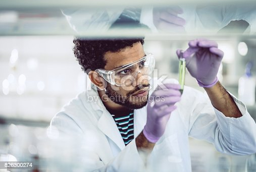 istock Scientist Looking at Test Tube 826300274