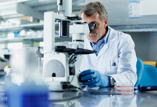 Scientist looking through microscope in research laboratory