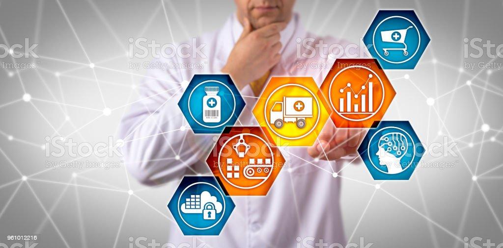 Scientist Managing Prescription Drug Supply Chain stock photo