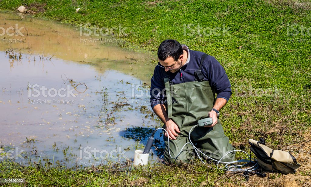 Scientist measuring environmental water quality in a wetland stock photo