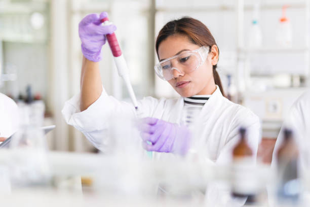 scientist pipetting - laboratory stock photos and pictures