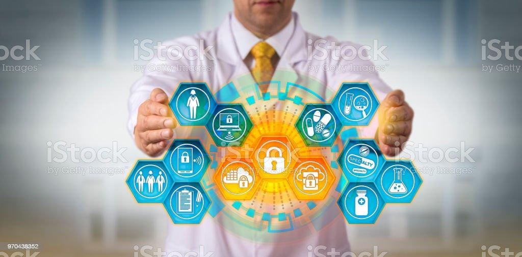 Scientist Protecting Data Via Encryption App stock photo