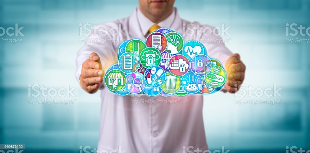 Scientist Safeguarding Applications In The Cloud stock photo