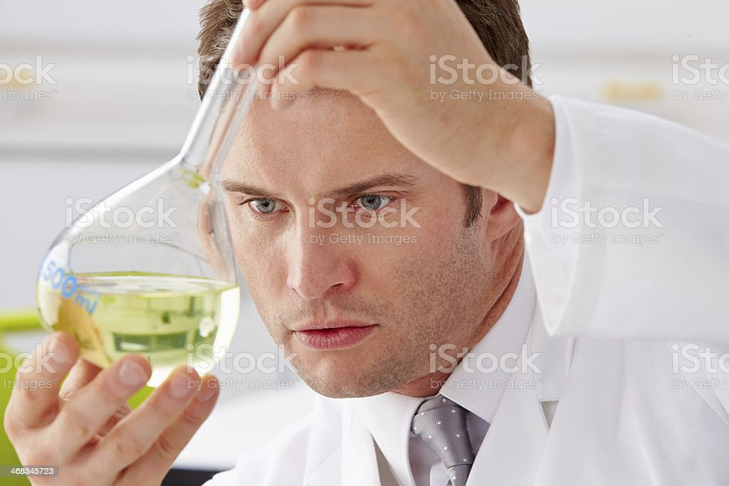 Scientist Studying Liquid In Flask royalty-free stock photo