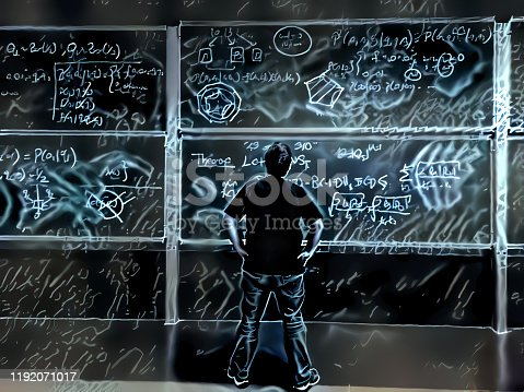 899619542 istock photo Scientist thinks solution in front of blackboard 1192071017