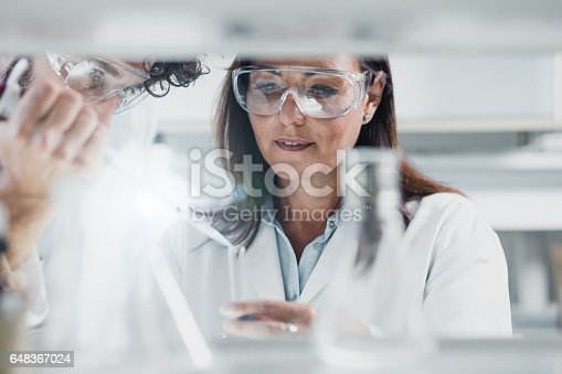 istock Scientist Using an Automatic Pipette 648367024