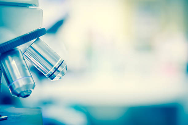 Scientist using  microscope in a laboratory stock photo