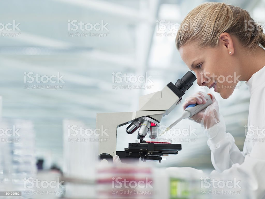 Scientist using microscope in lab royalty-free stock photo