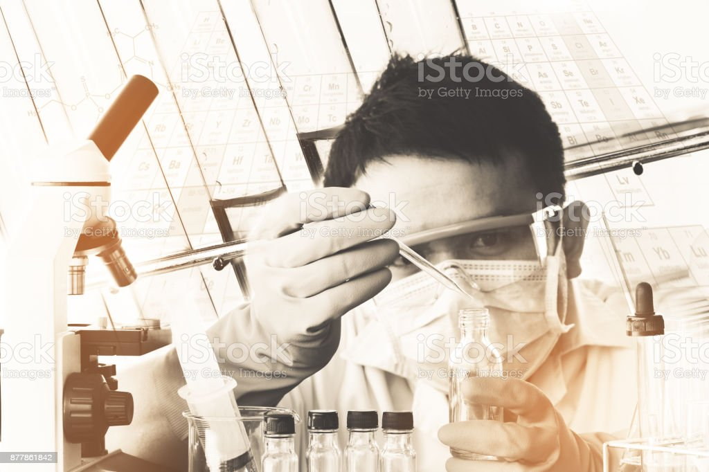 scientist with equipment and science experiments,Ancient image process syle stock photo