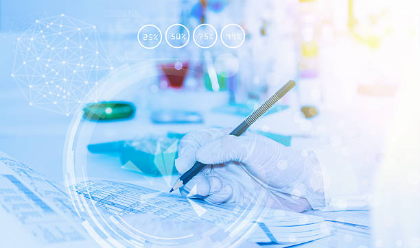 Scientist with equipment laboratory for science concept and sele stock photo