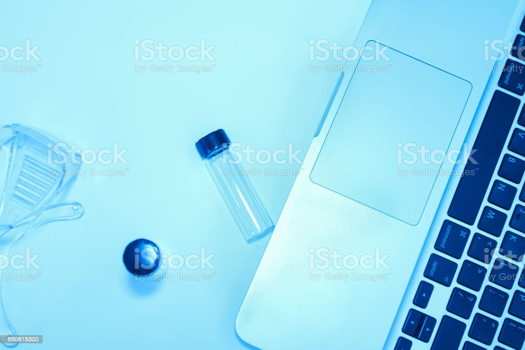 Scientist with equipment laboratory for science concept and selective focus. royalty-free stock photo