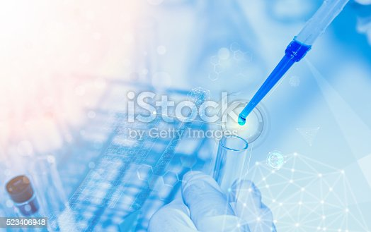 istock Scientist with laboratory background and concept. 523406948