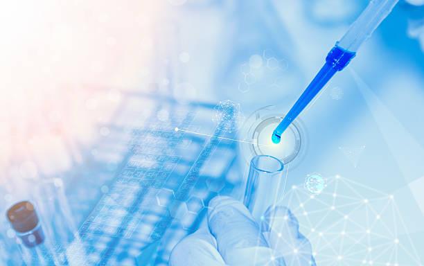 scientist with laboratory background and concept. - laboratoriumapparatuur stockfoto's en -beelden