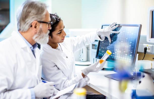 scientist working, discussing in the laboratory - ematologia foto e immagini stock