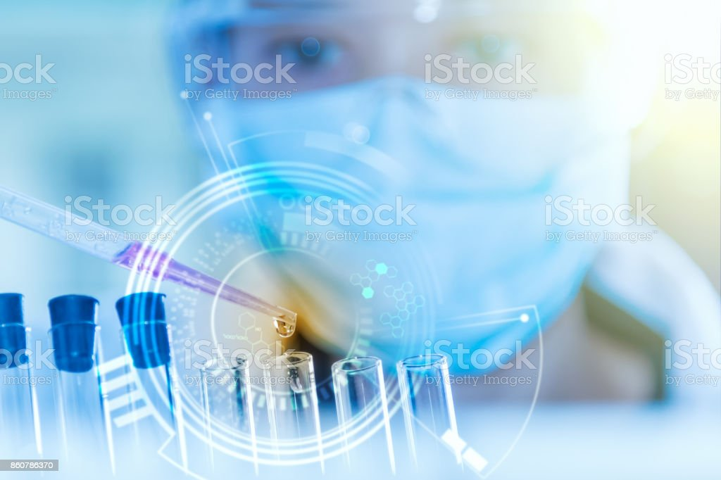 scientist working for analysis and science concept. stock photo
