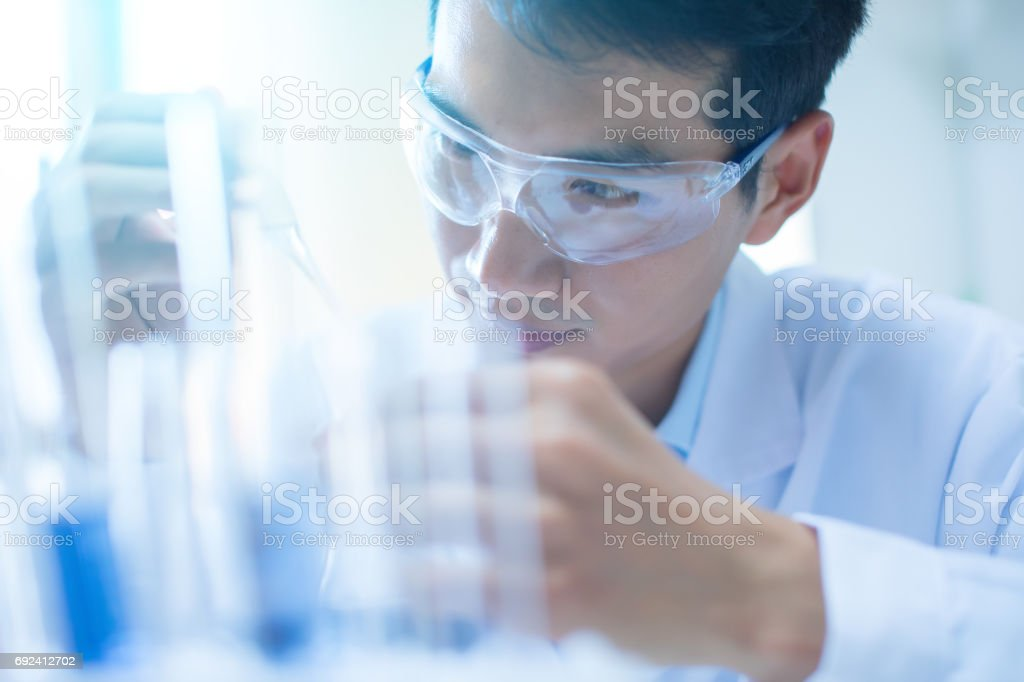 Scientist working in his laboratory stock photo