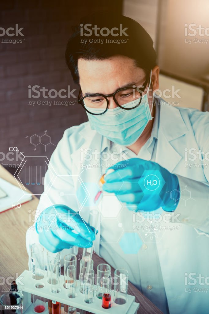 scientist working in science and chemical for health stock photo