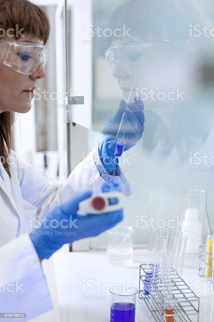 Scientist working in the digestorium stock photo