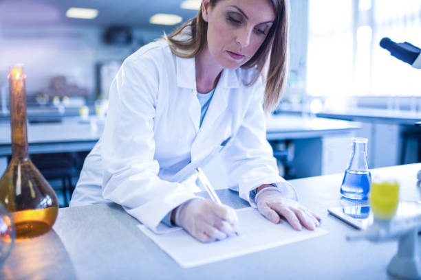 Scientist working in the laboratory stock photo