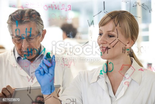 499203366 istock photo Scientist Writing a Chemical Bond onto a Transparent Material 627023570