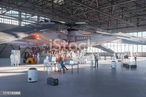 Scientists analyzing UFO in secret government hangar. This is entirely 3D generated image.