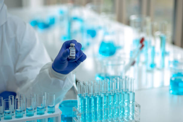 Scientists are done research on vaccine in laboratory stock photo