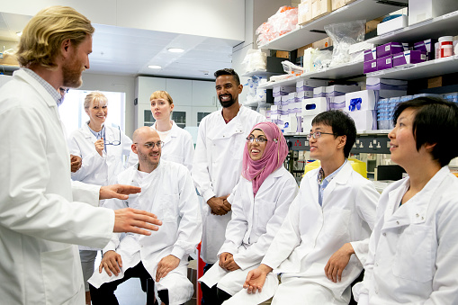 meeting scientists laboratory having