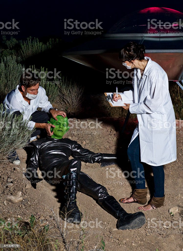 Scientists Investigating UFO Landing Site stock photo