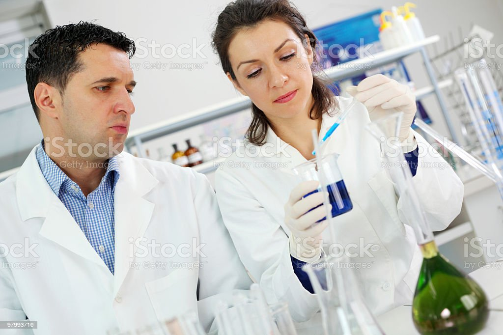 Scientists working at the laboratory. royalty free stockfoto