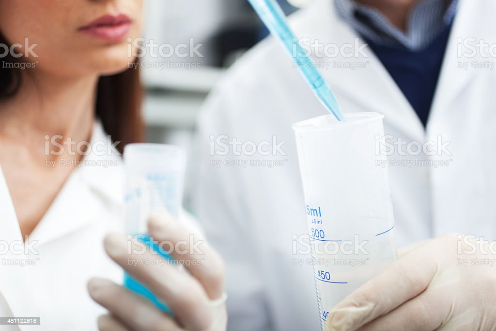 Scientists working in a laboratory stock photo