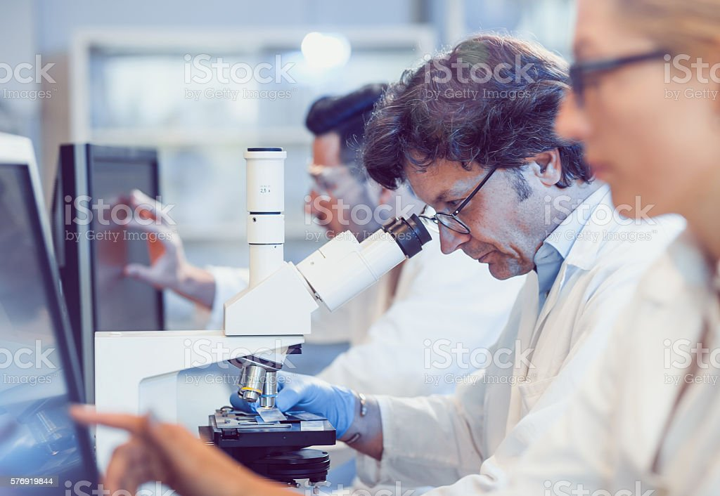 Scientists Working in the Laboratory stock photo