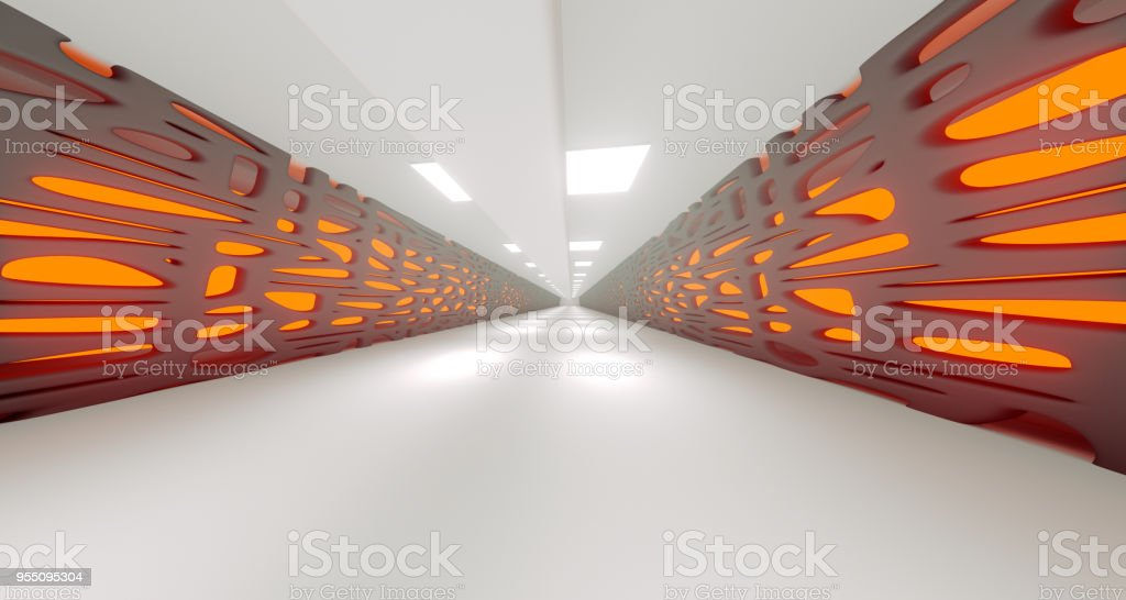 Sci-Fi Abstract Long Corridor With Lights. 3D Rendering stock photo
