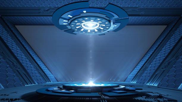 sci-fi-korridor entwurf - eingangshalle wohngebäude innenansicht stock-fotos und bilder