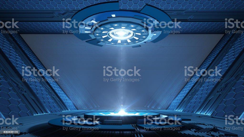 Ciencia ficción pasillo de diseño interior - foto de stock