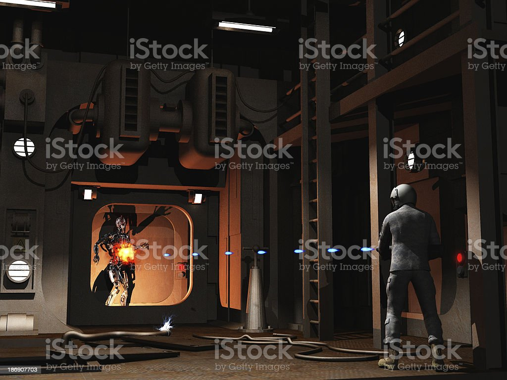Scifi firefight stock photo