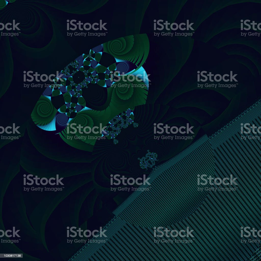 Sci-fi fractal image flying saucers over planet stock photo