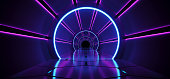 Sci-Fi Futuristic Abstract Gradient Blue Purple Pink Neon Glowing Circle Round Corridor On Reflection Concrete Floor Dark Interior Room Empty Space Spaceship Technology Concept 3D Rendering illustration
